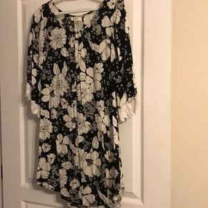 Umber Black and White Floral Tunic/Dress